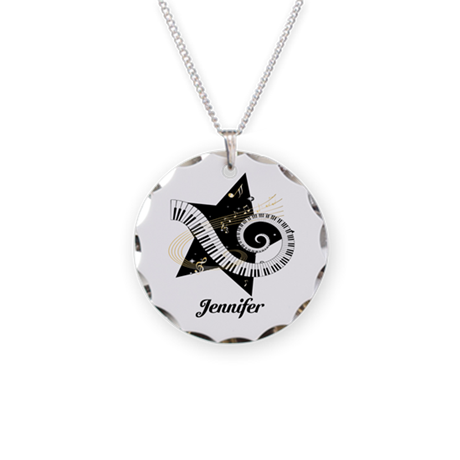 Music star gold black Necklace Circle Charm