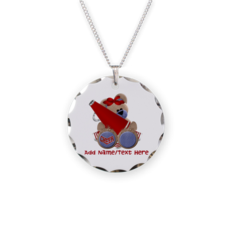 Teddy Cheerleader (red) Necklace Circle Charm