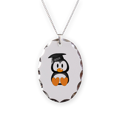 Custom Graduation Penguin Necklace Oval Charm