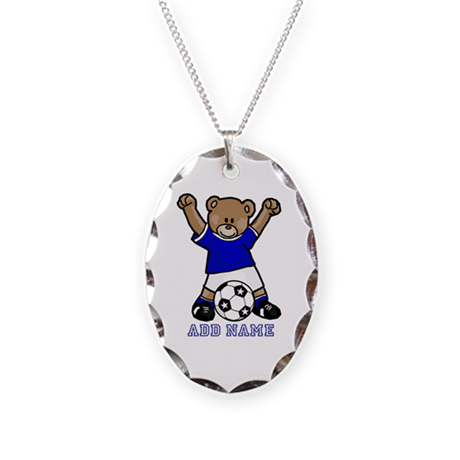 Cute Personalized soccer bear Necklace Oval Charm