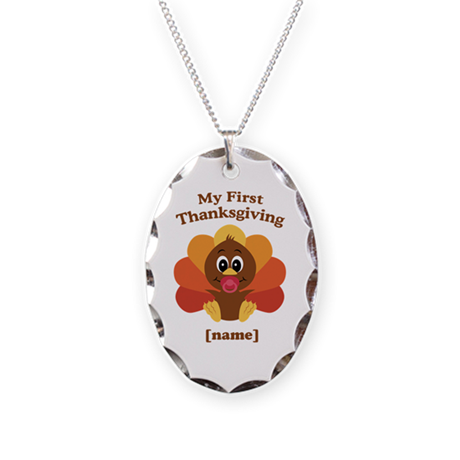 Custom First Thanksgiving Necklace Oval Charm