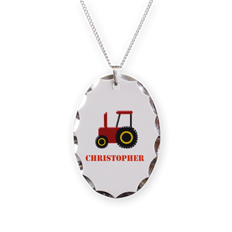 Personalised Red Tractor Necklace Oval Charm