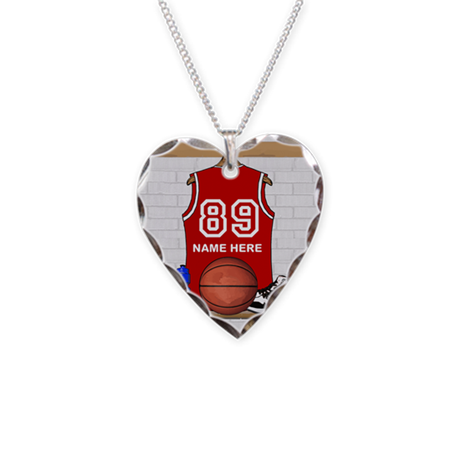 Personalized Basketball Jerse Necklace Heart Charm