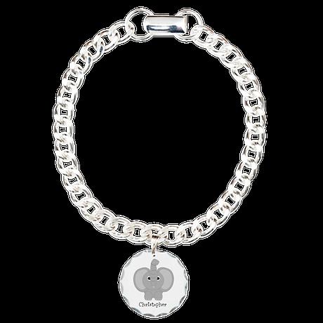 Personalized Elephant Design Charm Bracelet, One C