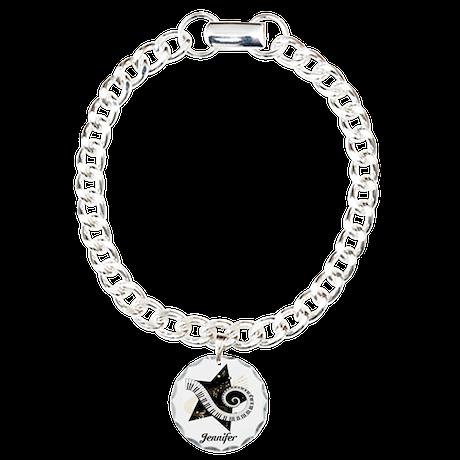 Music star gold black Charm Bracelet, One Charm