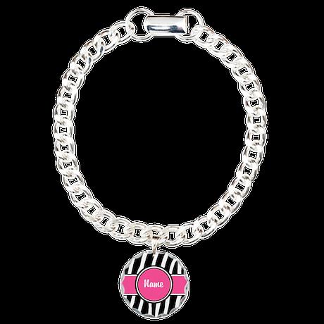 Pink Zebra Print Personalized Charm Bracelet, One