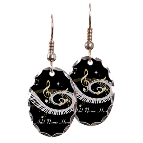 Personalized Piano Musical gi Earring Oval Charm