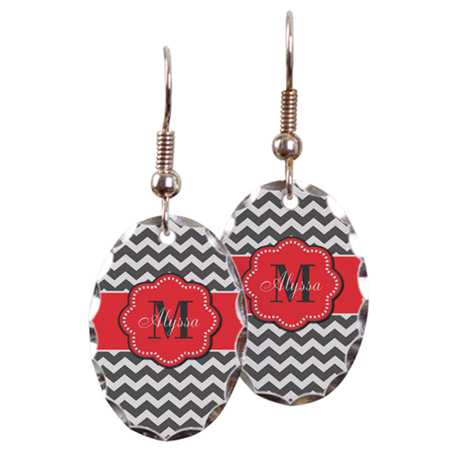 Gray and Coral Chevron Personalized Earring