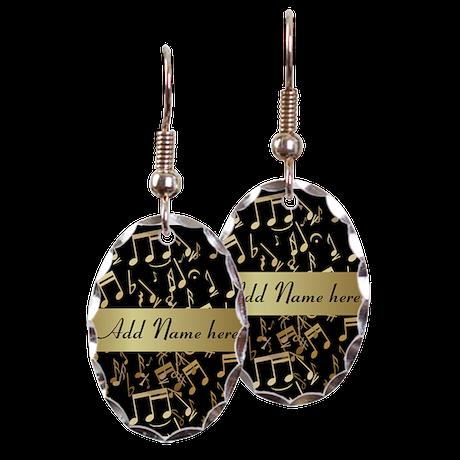 Personalised designer gold Mu Earring Oval Charm