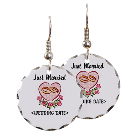 Just Married (Add Your Wedding Date) Earring Circl
