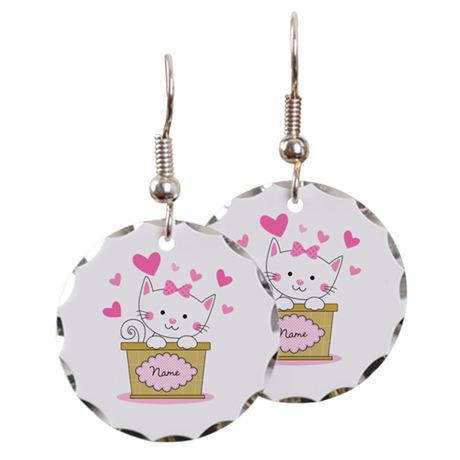 Personalized Kitty Love Earring Circle Charm