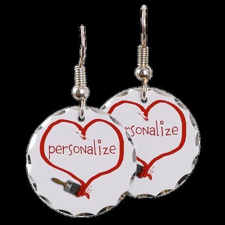 Customizable Painted Heart Earring Circle Charm