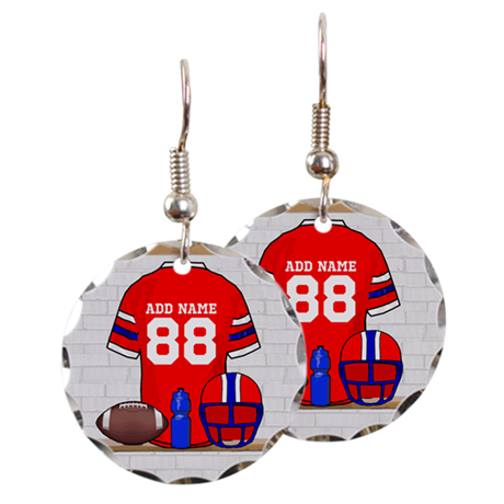 Personalized grid Iron Football jersey Earring Cir