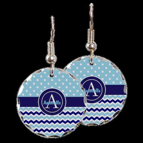 Blue Polka Dot Chevron Earring