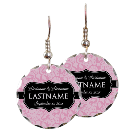 Pink Damask Wedding Favors Earring Circle Charm
