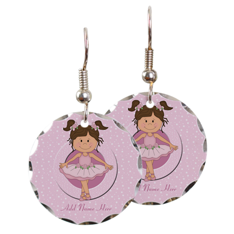 Personalized Ballerina Ballet Earring Circle Charm