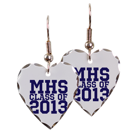 2013 Graduation Earring Heart Charm
