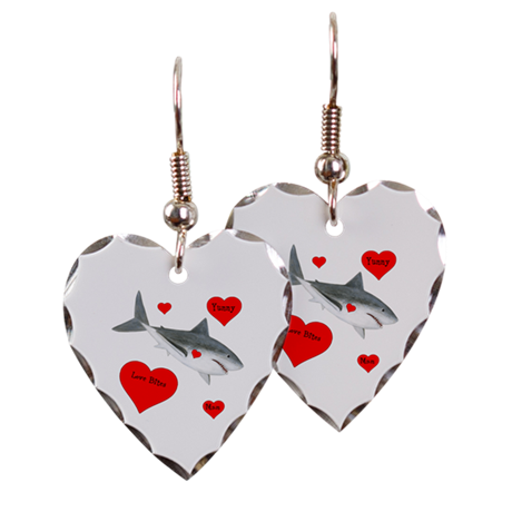 Personalized Shark Valentine Earring Heart Charm