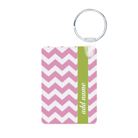 Pink Lime Chevrons Add Name Keychains