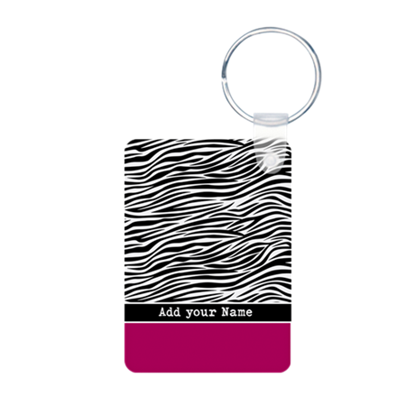 zebra stripes pink black Aluminum Photo Keychain