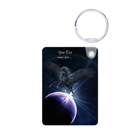 Black Pegasus Aluminum Photo Keychain