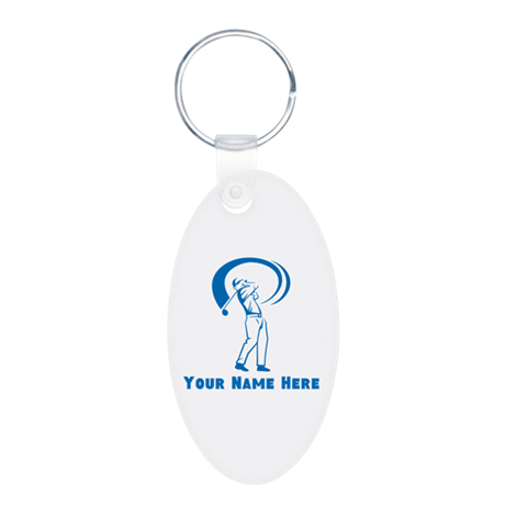 Personalized Golf Aluminum Oval Keychain