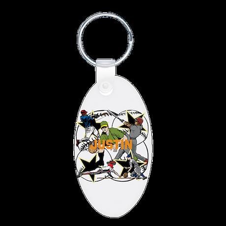Custom Baseball Name Aluminum Oval Keychain