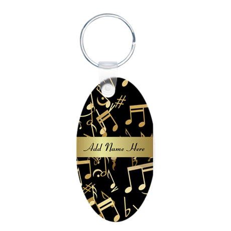 designer gold Musical notes Aluminum Oval Keychain