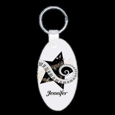 Music star gold black Aluminum Oval Keychain