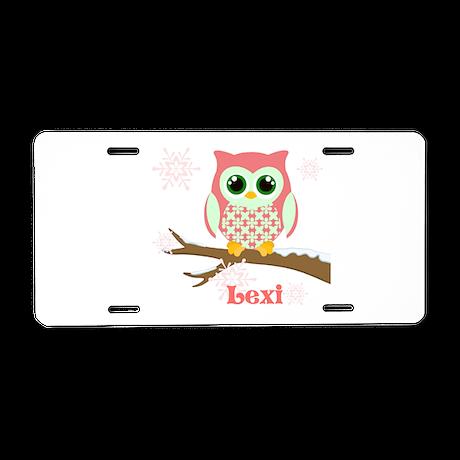 Custom name winter owl girl Aluminum License Plate by