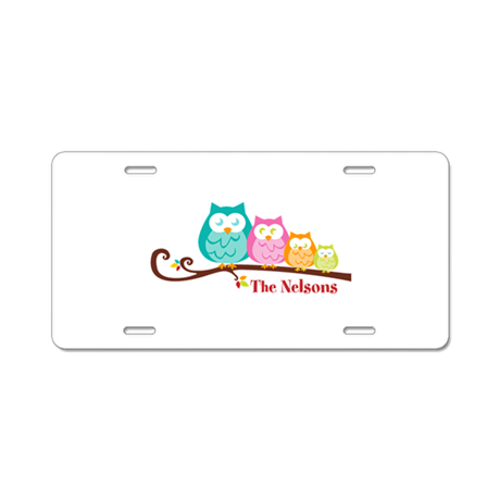 Custom owl family name Aluminum License Plate by Sweetsisters