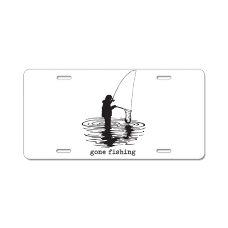 Personalized gone fishing aluminum license plate by for Fishing license plate