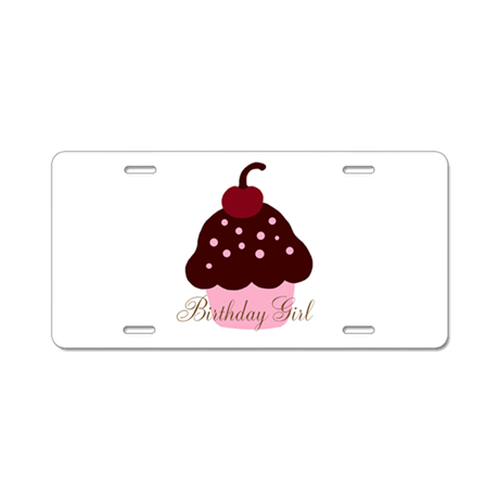 Birthday Girl Cupcake Aluminum License Plate
