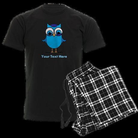 Personalized Blue Owl Men's Dark Pajamas