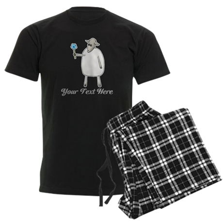 Sheep and Custom Text. Men's Dark Pajamas