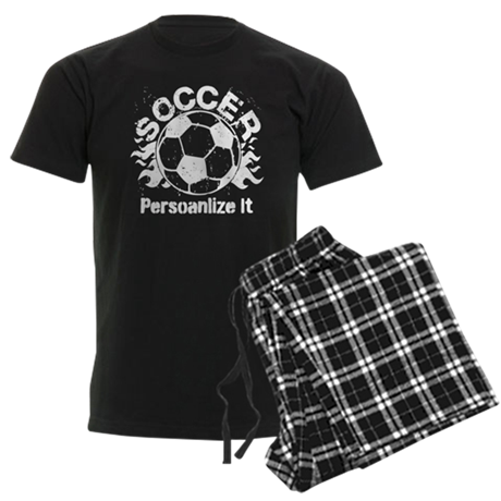 Personalized Soccer Flames Men's Dark Pajamas