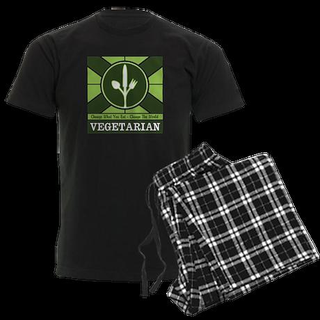Custom Vegetarian Flag Men's Dark Pajamas