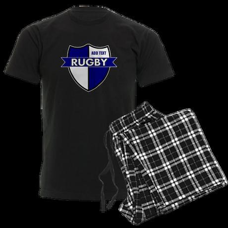 Rugby Shield White Blue Men's Dark Pajamas