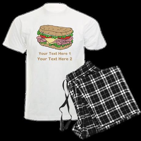 Sandwich. Custom Text. Men's Light Pajamas