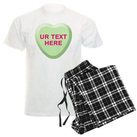 Lime Candy Heart Personalized Men's Light Pajamas