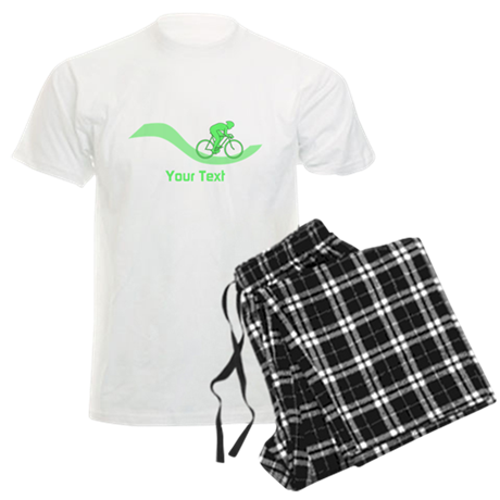 Cyclist in Green. Custom Text. Pajamas