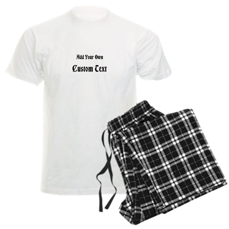 Black Custom Text Men's Light Pajamas