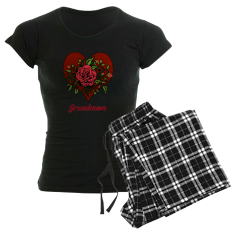 Grandmom. Roses and Heart. Women's Dark Pajamas