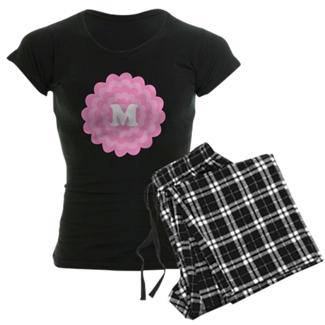 Your Letter on Pink Flower. Women's Dark Pajamas