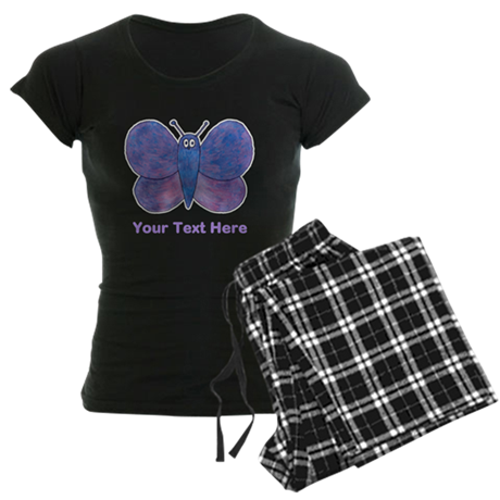 Butterfly. Custom Text. Women's Dark Pajamas