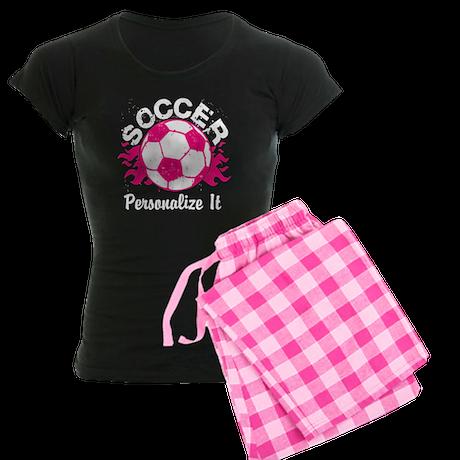 Personalized Soccer Flames Women's Dark Pajamas