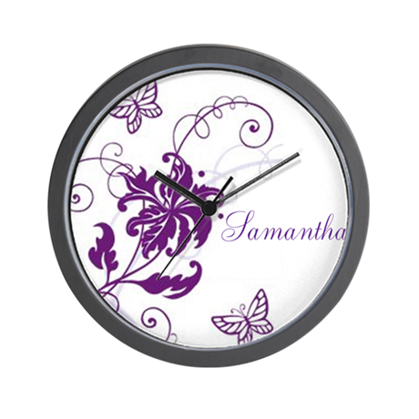 Purple Butterflies And Vines Wall Clock By Lifethoughts