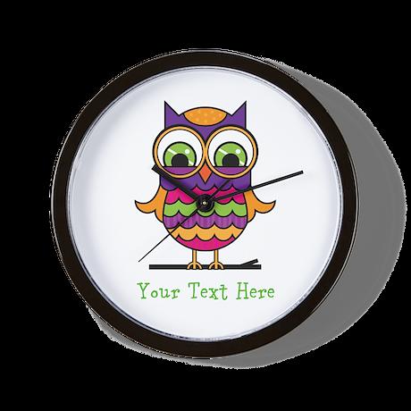 Customizable Whimsical Owl Wall Clock