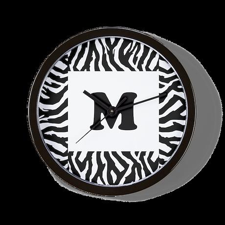Zebra Print. Custom Letter. Wall Clock