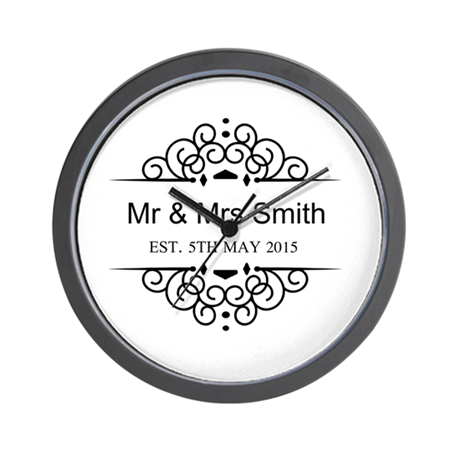 Custom Couples Name and wedding date Wall Clock